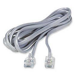 Ziotek 7ft Telephone RJ11 (RJ12) 6P6C Reverse, Modular Flat Cable, Silver ZT1800350