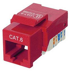 Ziotek CAT6 Network (RJ45) Keystone Jack, Tool-Free, Red ZT1800325