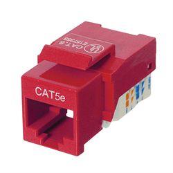 Ziotek RJ45 Cat5 / 5e Keystone Jack, Tool Free, Red ZT1800315