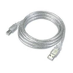 Ziotek 3ft. USB 2.0 Type A Male to Type B Male USB Cable, Clear ZT1311105