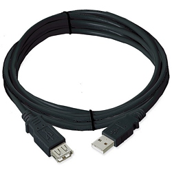 Ziotek 10ft. USB 2.0 Cable, Type A Male to Female Extension, Black ZT1311035